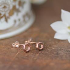NOVA Rose Gold Hex Silhouette Earrings