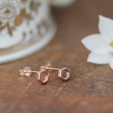 Rose Gold Hex Silhouette Earrings
