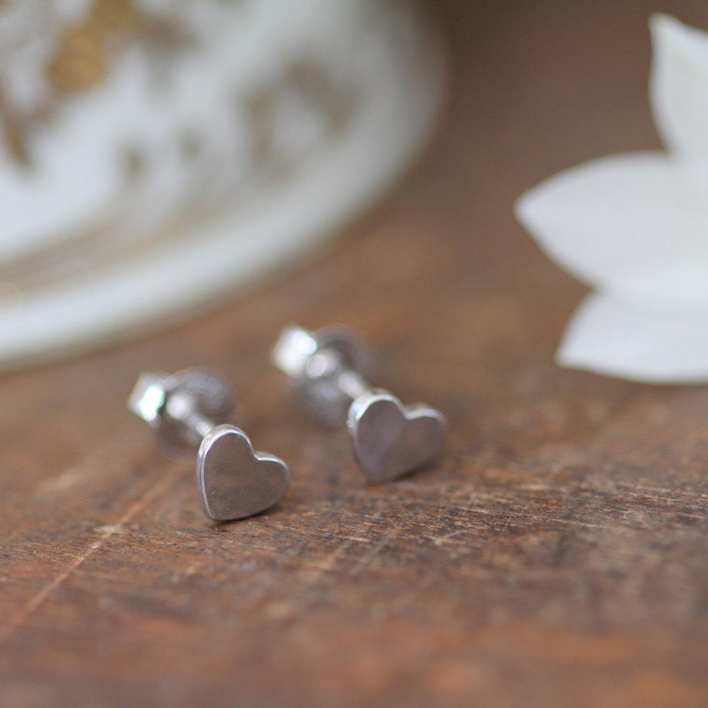 Silver Slender Heart Earrings