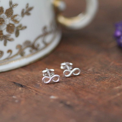 Joulberry Silver Infinity Earrings