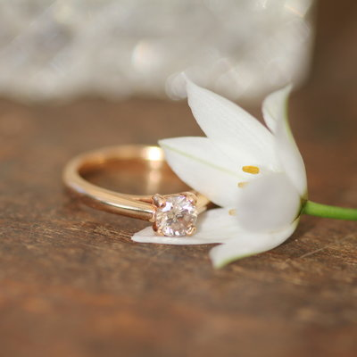 Joulberry 18 Carat Gold Blush Diamond Solitaire Ring