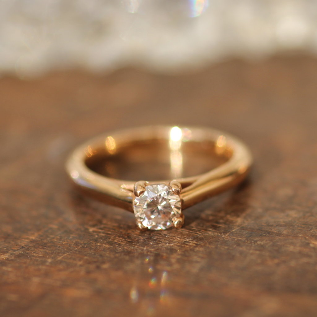 18 Carat Rose Gold Blush Diamond Solitaire Ring