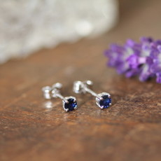Joulberry Sapphire White Gold Earrings