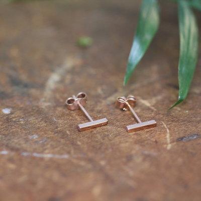 Joulberry Rose Gold Slender Bar Earrings