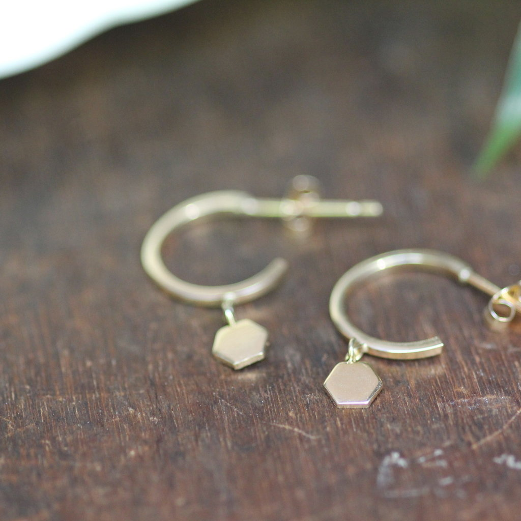 Joulberry Gold Evelyn Hexagon Earrings
