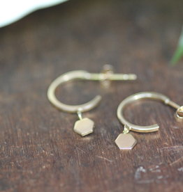 Joulberry Gold Evelyn Hexagon Earrings