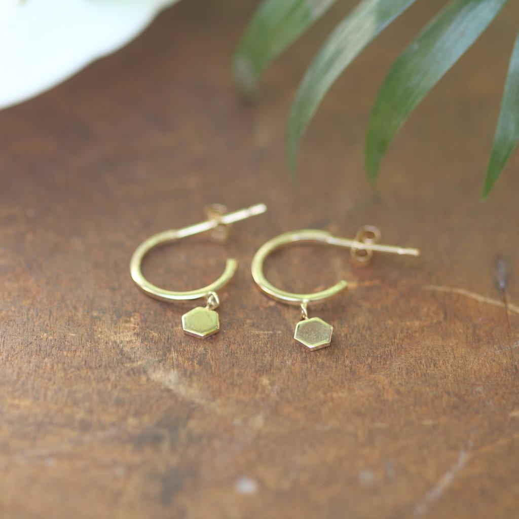 Gold Evelyn Hex Hoop Earrings