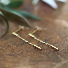 Gold Bar Chain Dangly Earrings