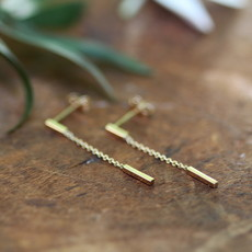 MADISON Gold Bar Chain Dangly Earrings