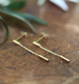 Joulberry Gold Bar Chain Dangly Earrings