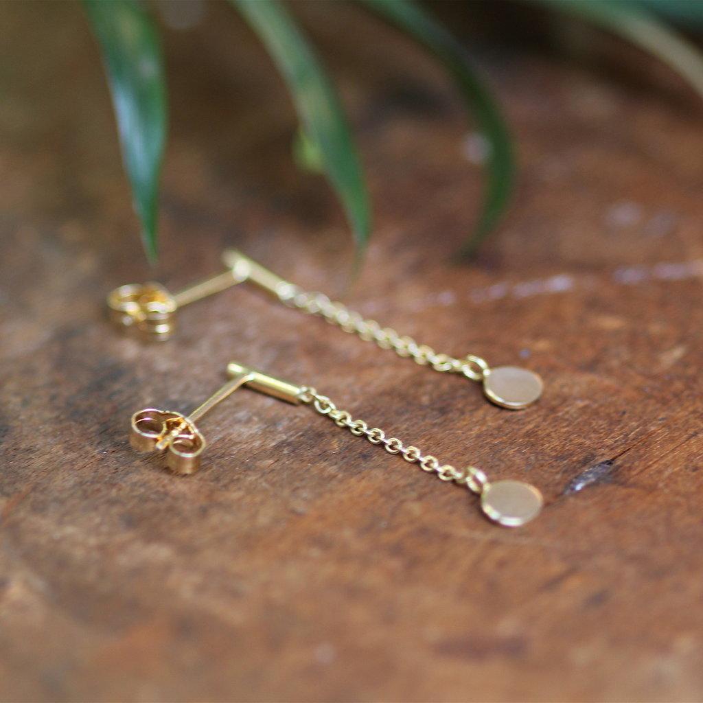 Gold Disc Chain Dangly Earrings