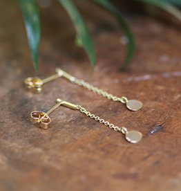 Joulberry Gold Disc Chain Dangly Earrings