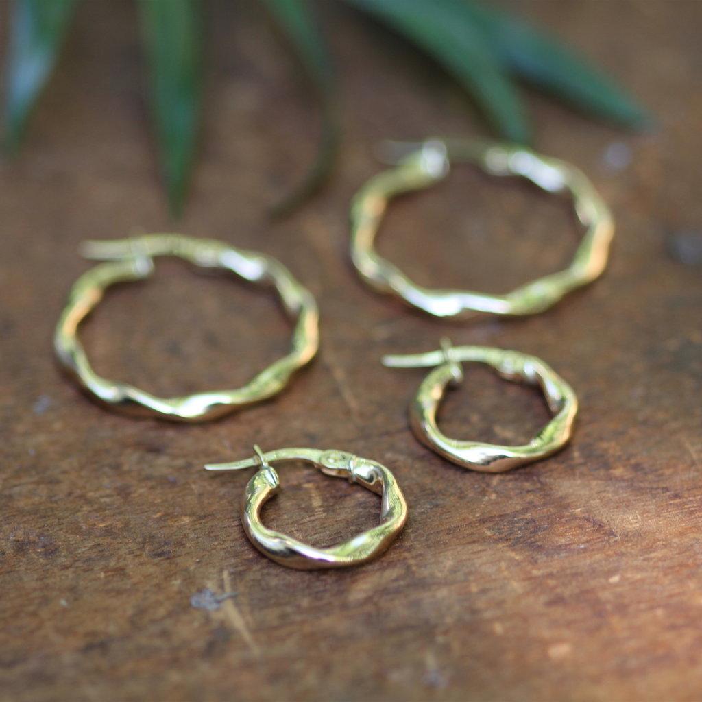 Gold Petite Twist Hoop Earrings