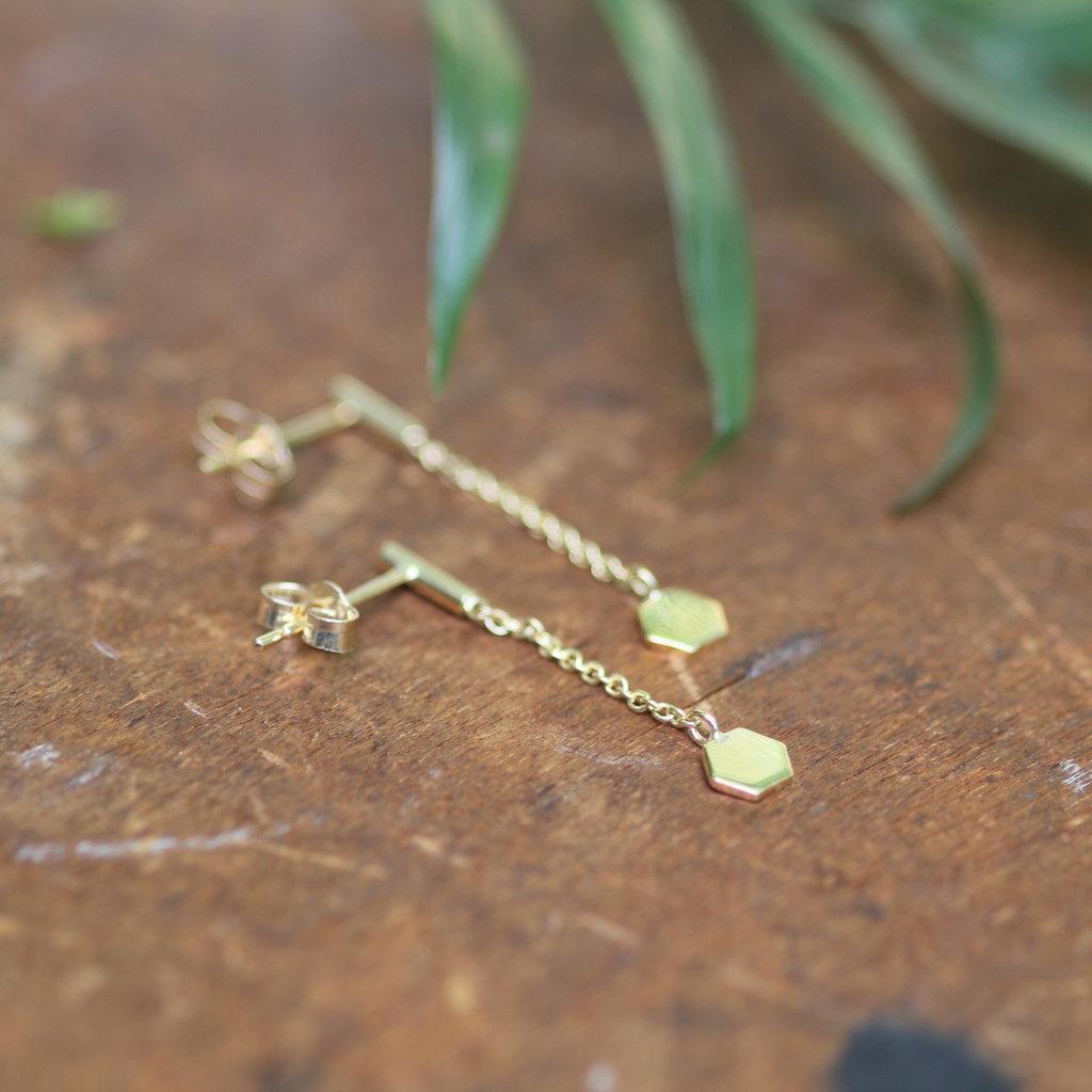 Gold Hex Chain Dangly Earrings