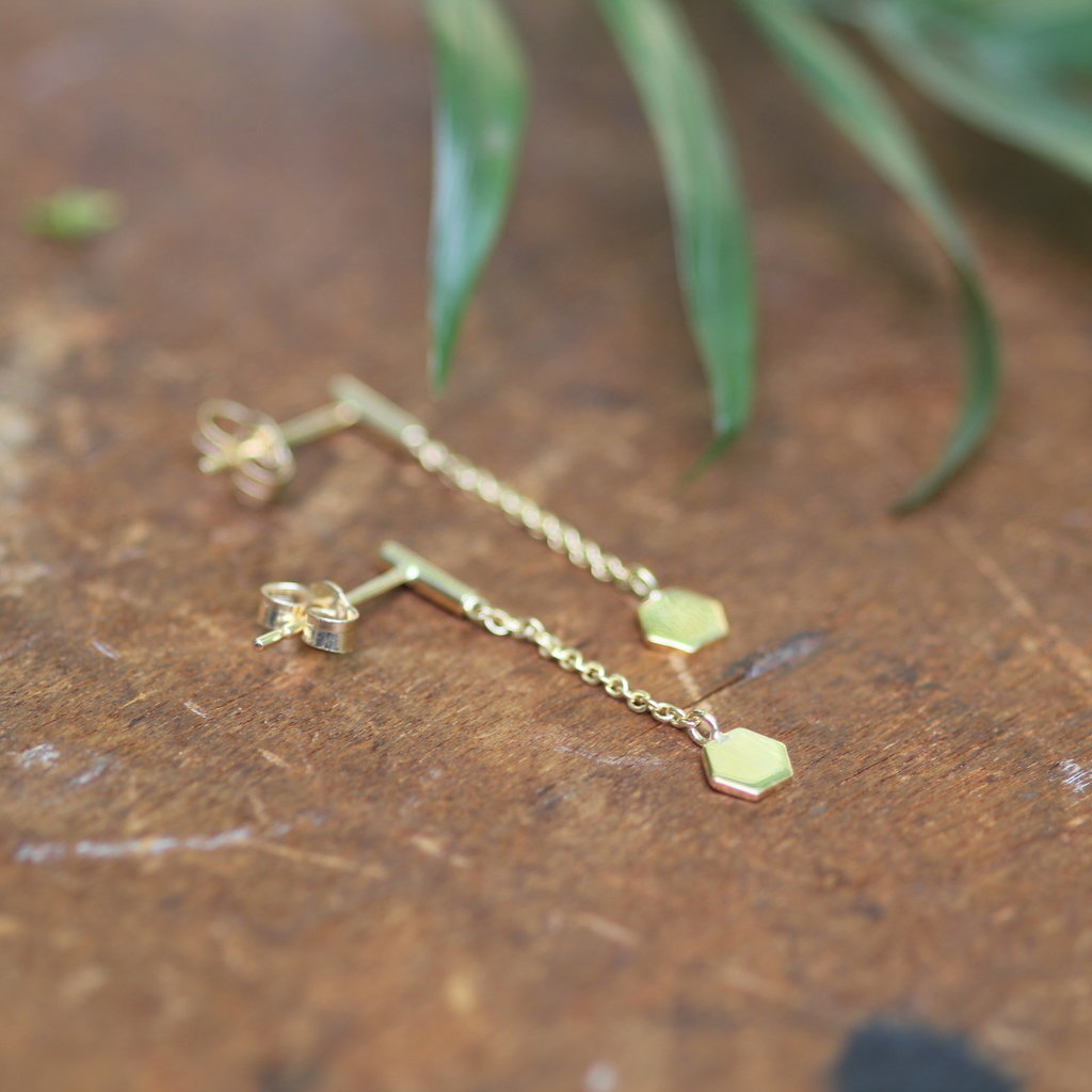 Joulberry Gold Hex Chain Dangly Earrings