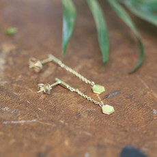NOVA Gold Hex Chain Dangly Earrings