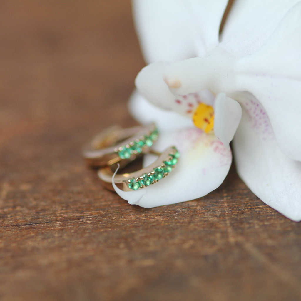Gold Emerald Mini Huggies Earrings