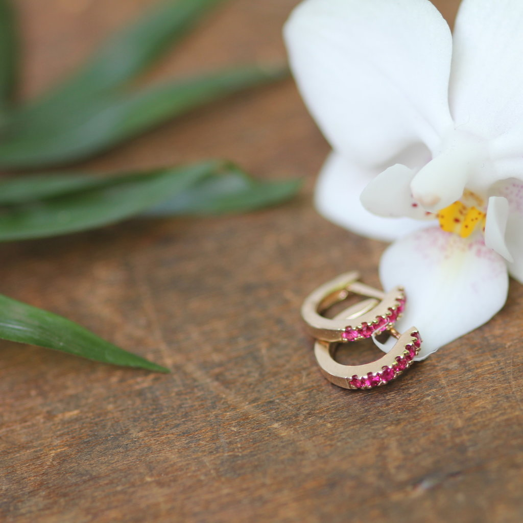 Joulberry Gold Ruby Mini Huggies Earrings