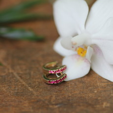 Gold Ruby Mini Huggies Earrings