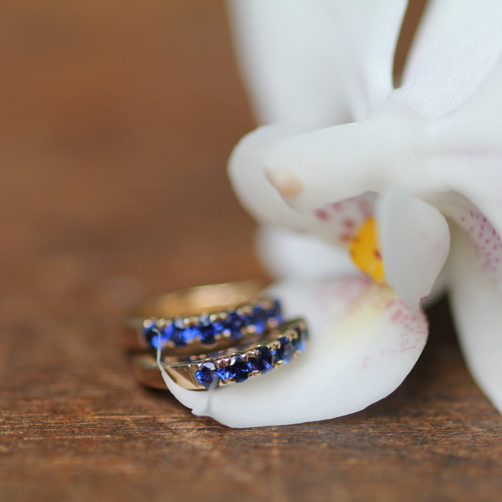 Gold Sapphire Mini Huggies Earrings