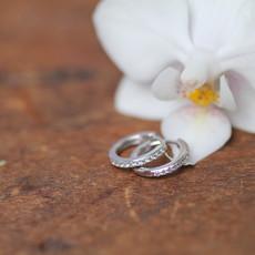 DAISY White Gold Round Diamond Hoop Earrings