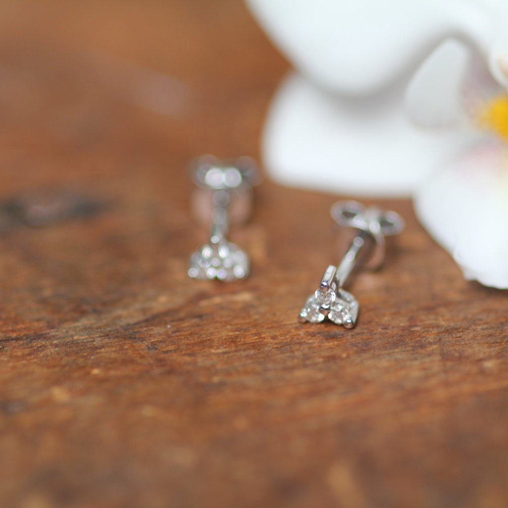 Joulberry White Gold Tri Diamond Earrings