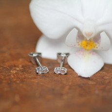White Gold Diamond Duo Earrings