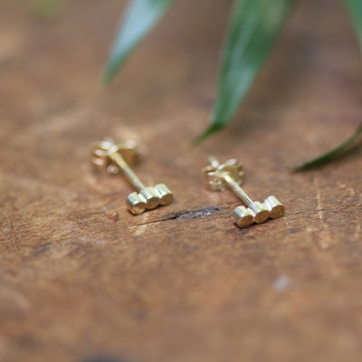 Gold Hive Bar Earrings