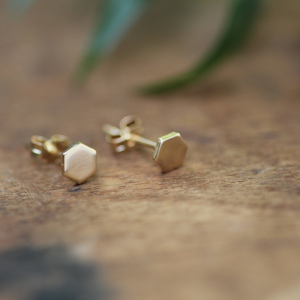NOVA Gold Hex Stud Earrings