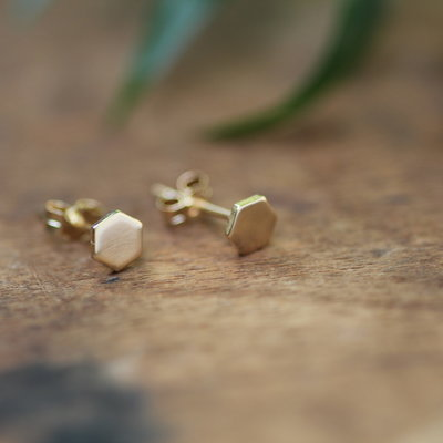 Gold Hex Stud Earrings