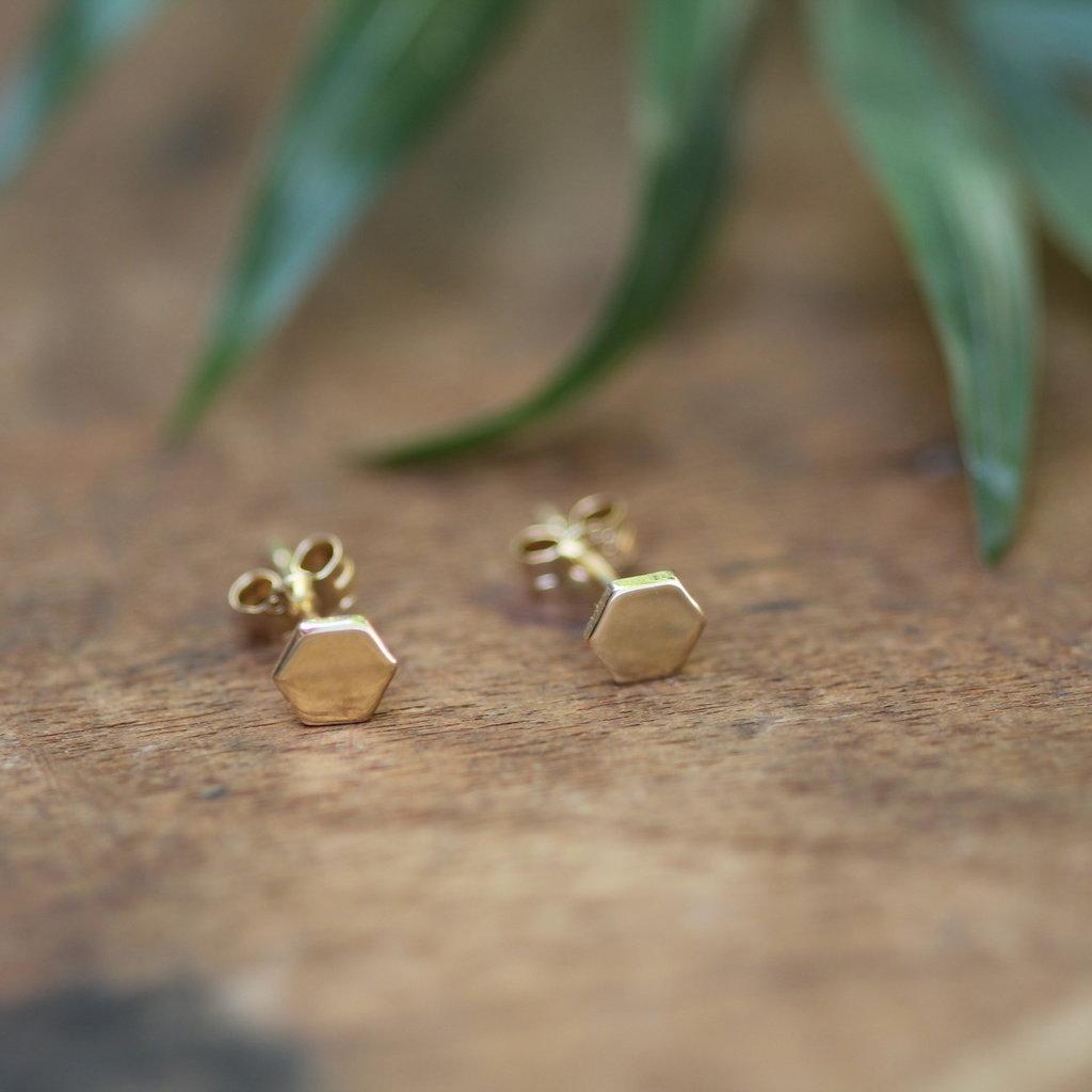 Gold Hex Stud Earrings