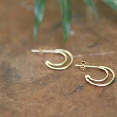 Gold Double Moon Earrings