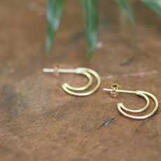 Joulberry Gold Silhouette Crescent Moon Earrings