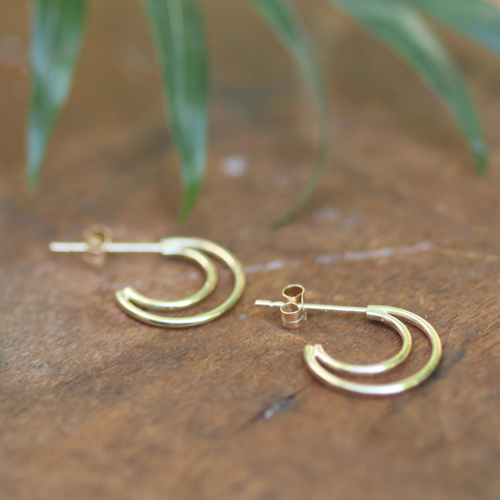 Joulberry Gold Double Moon Earrings