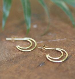 Joulberry Gold Double Moon Earrings