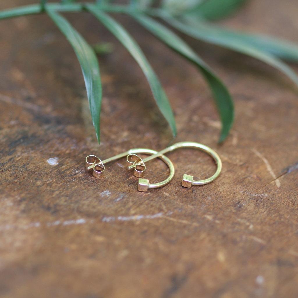 Gold Evelyn Cube Earrings
