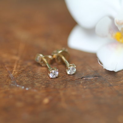 Joulberry Gold Diamond four claw studs