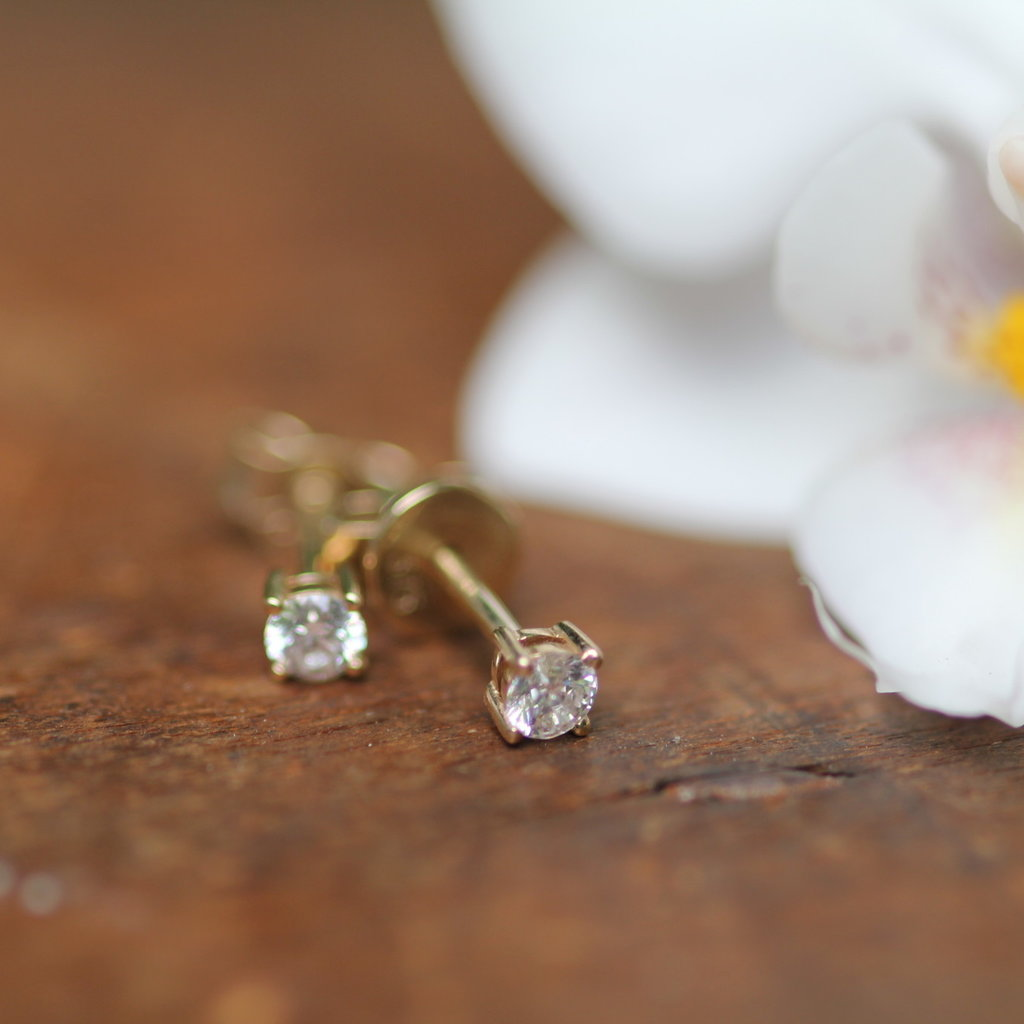 Gold Diamond Solitaire Earrings