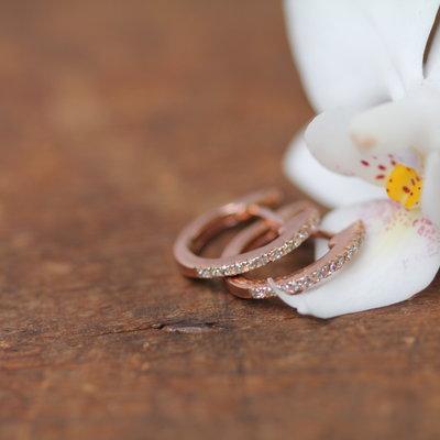 Joulberry Rose Diamond Midi Hoop Earrings