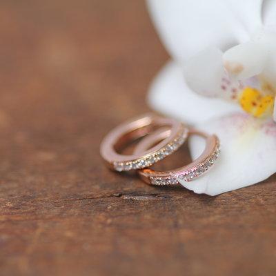 Joulberry Rose Diamond Huggies Earrings