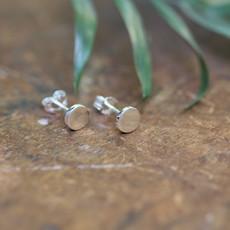 MADISON Silver Button Earrings