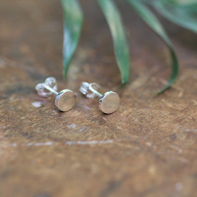 Joulberry Silver Button Earrings