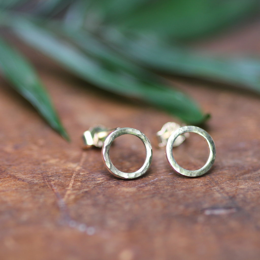 Gold Hammered Solar Earrings