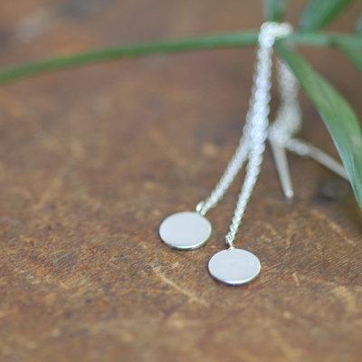 Silver Disc Chain Dangly Earrings