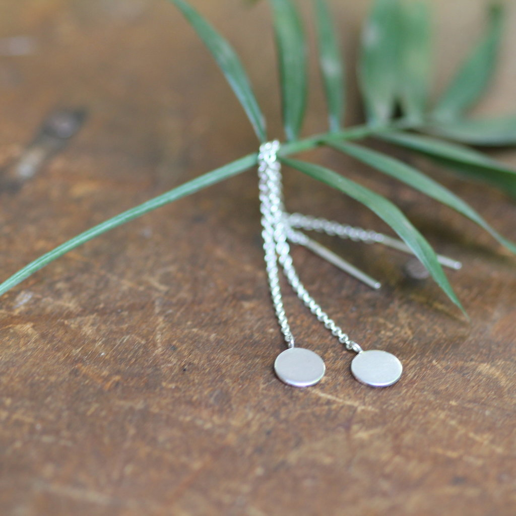 Joulberry Silver Disc Chain Dangly Earrings