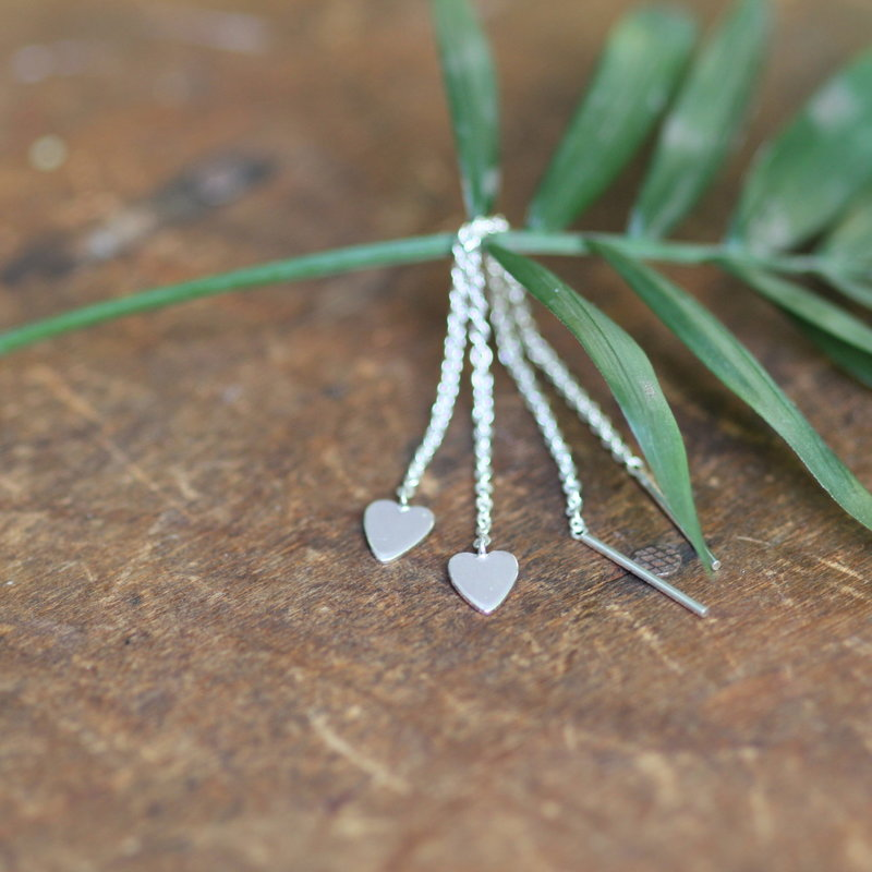 DARCY Silver Heart Chain Dangly Earrings