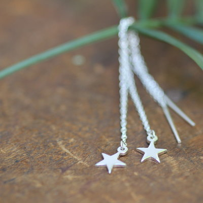 Joulberry Silver Star Chain Threadable Earrings