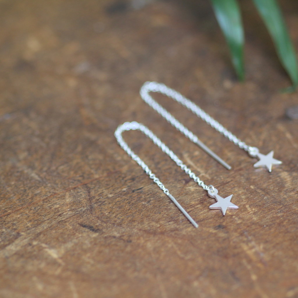 Joulberry Silver Star Chain Dangly Earrings