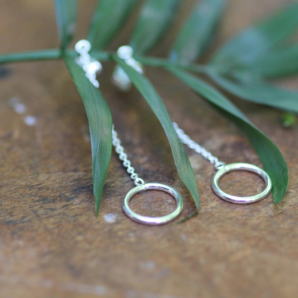 Silver Ring Chain Dangly Earrings