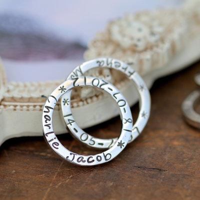 Personalised Duo Slender Rings